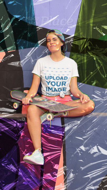 T-Shirt Mockup Featuring a Woman with a Skateboard and a Cellophane Foil Texture 3313v