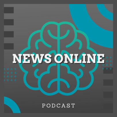 World News & Politics Podcast Cover Generator Featuring a Brain Clipart 4398c