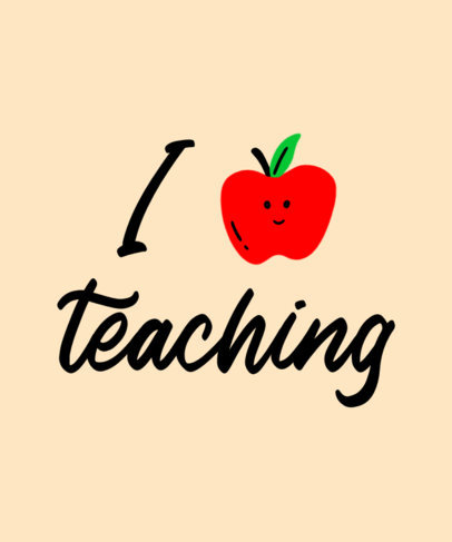 Quote T-Shirt Design Maker for Teachers Featuring a Happy Apple a27m 3768