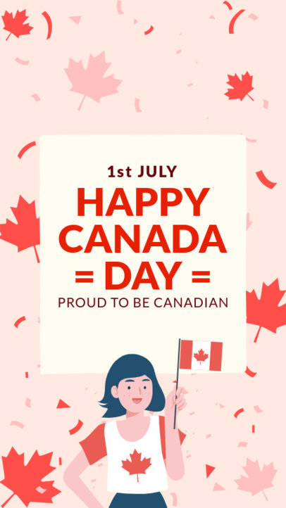 Instagram Story Maker for Canada Day Featuring Maple Leaf Graphics 3778