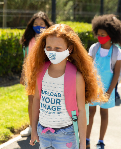 Tank Top Mockup of a Girl Wearing a Face Mask on Her Way to School 45483-r-el2