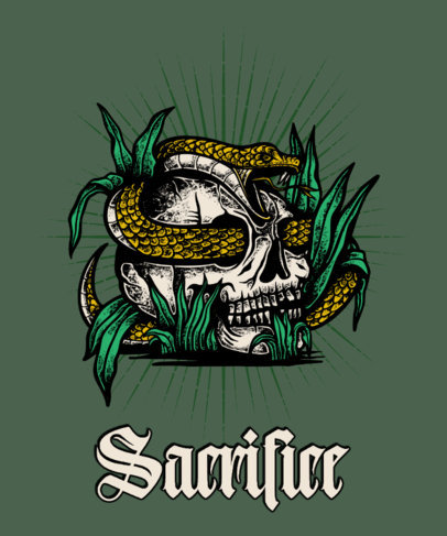 Tattoo-Styled T-Shirt Design Template with an Illustration of a Skull and a Snake 4055e-el1