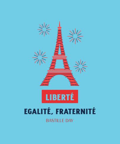 Bastille Day-Themed T-Shirt Design Maker Featuring the Eiffel Tower 3770a