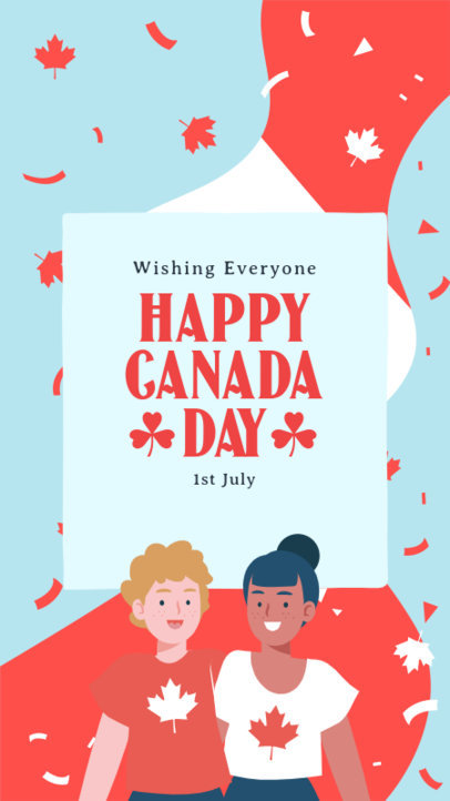 Instagram Story Generator With a Happy Canada Day Message and Maple Leaf Graphics 3778b