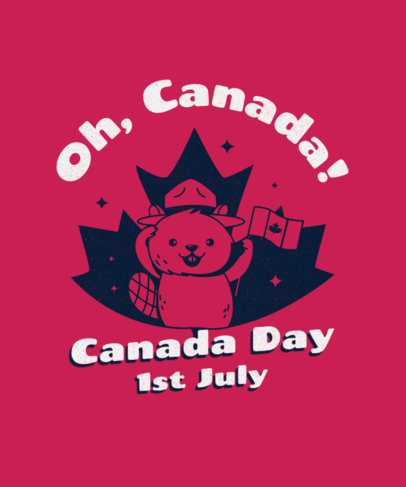 T-Shirt Design Template with a Beaver Cartoon for Canada Day 3775a