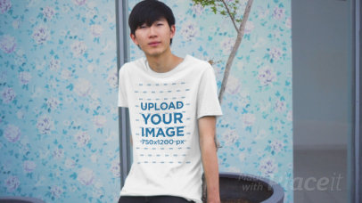 T-Shirt Video Featuring a Confident Young Man Posing 3411v