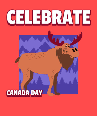 Canada Day-Themed T-Shirt Design Maker Featuring a Smiling Moose Graphic 3774f