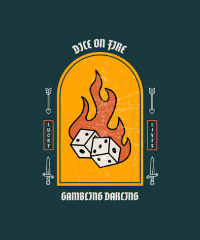 Trendy T-Shirt Design Creator with a Graphic of Dice on Fire 4053a-el1
