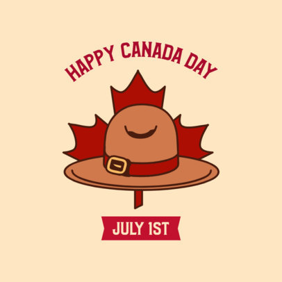 Instagram Post Template for a Happy Canada Day Featuring a Mountie Hat Graphic 3777d