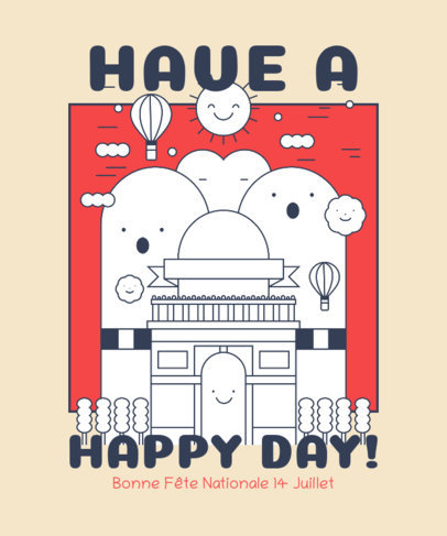 Bastille Day T-Shirt Design Template Featuring Happy French Building Illustrations 3769f