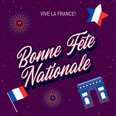 Patriotic Instagram Post Maker a French National Holiday 3771a