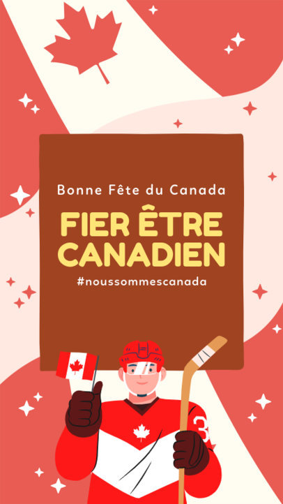 Instagram Story Generator for Canada Day Featuring a Hockey Player Graphic 3778e
