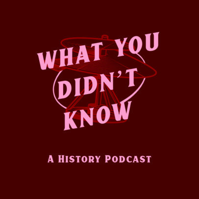 Podcast Cover Design Template for a History-Themed Show 4413c