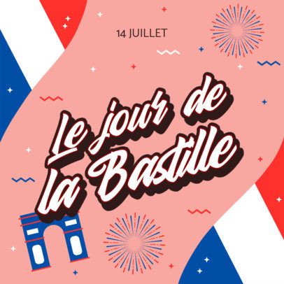 Instagram Post Maker to Celebrate Bastille Day 3771h