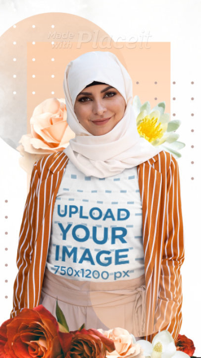 T-Shirt Video Featuring a Woman With a Hijab and Floral Animations 3307v