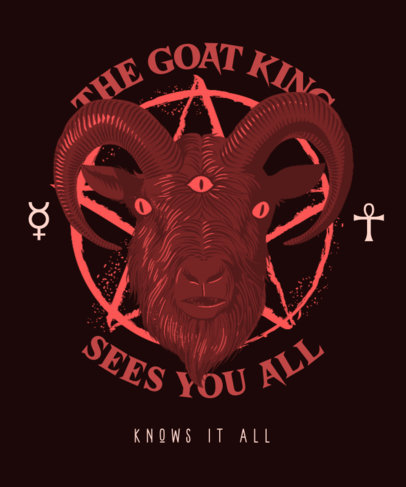 T-Shirt Design Creator with a Goat Illustration and a Satanic Aesthetic 3767e