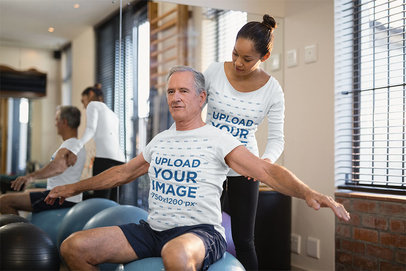 T-Shirt and Long Sleeve Tee Mockup of a Senior Man Working Out with a Coach 44730-r-el2
