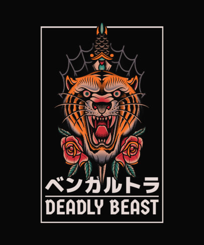Tattoo-Inspired T-Shirt Design Template with Japanese Aesthetic Dagger Graphics 4057-el1