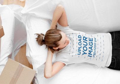 T-Shirt Mockup Featuring a Woman Relaxing 41460-r-el2