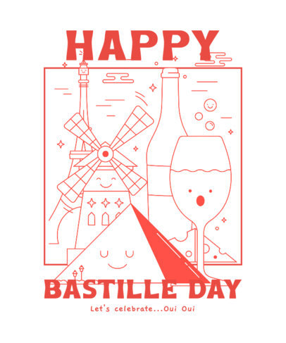 T-Shirt Design Maker for a Happy Bastille Day with Smiling Cartoons 3769c