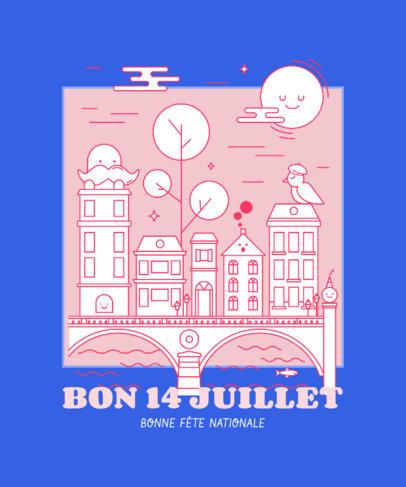 Colorful T-Shirt Design Generator for Bastille Day 3769e