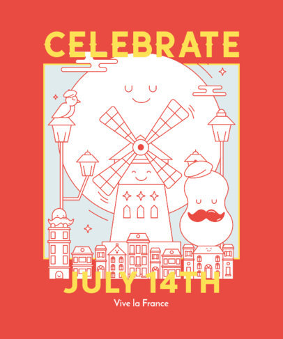 T-Shirt Design Creator Featuring an Illustrated Cartoon Scenery for Bastille Day 3769g