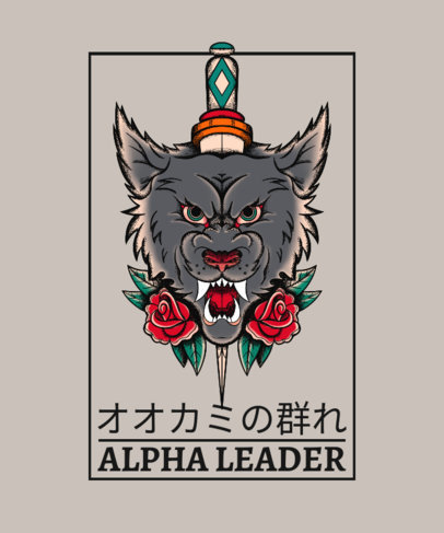 T-Shirt Design Maker Featuring a Tattoo-Styled Illustration of a Wolf 4057b-el1