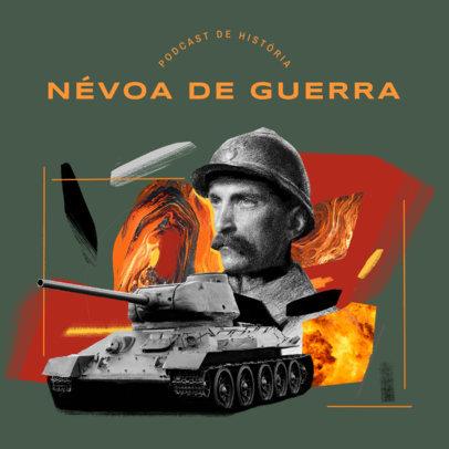 History Podcast Cover Maker for a World's War Breakdown Episode 4411h