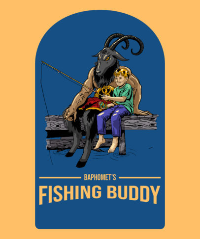 T-Shirt Design Maker with a Picture of Baphomet Fishing with a Kid 3763e