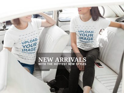 Facebook Ad - Girls Waiting Inside a Car Wearing Round Neck Tees a16246