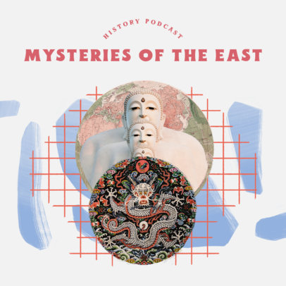 History Podcast Cover Creator for a Mysteries of the East Episode 4411m