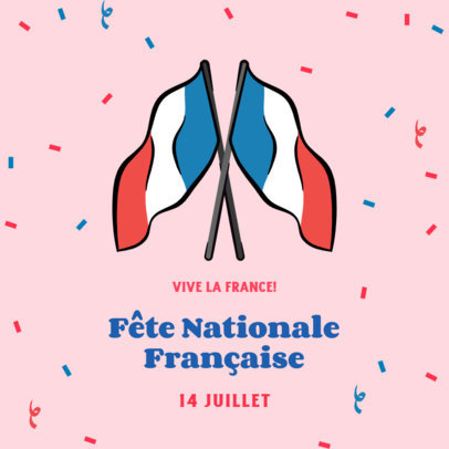 Instagram Post Design Template to Celebrate July 14 Featuring the French Flag 3772d