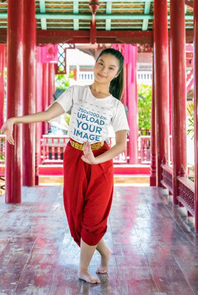 T-Shirt Mockup Featuring a Woman Dancing M9893-r-el2