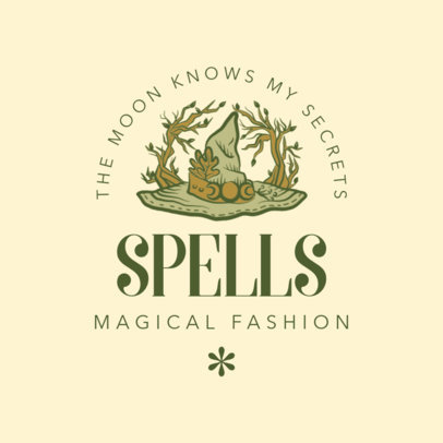 Fashion Logo Generator Featuring a Witch Hat Clipart 4406k