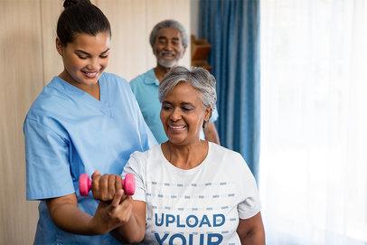 T-Shirt Mockup of a Senior Woman at Physiotherapy 41856-r-el2