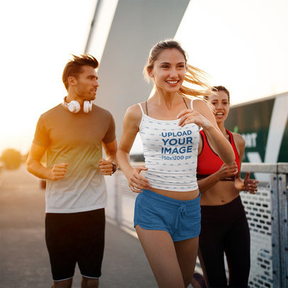 Spaghetti Strap Tank Top Mockup Featuring a Happy Woman Jogging With Her Friends 40710-r-el2
