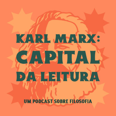 Podcast Cover Design Template with an Illustration of Karl Marx 4417p