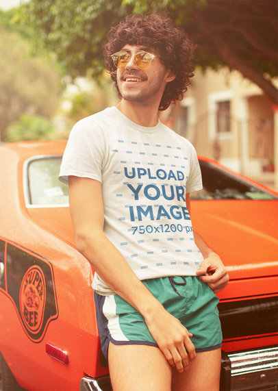 T-Shirt Mockup Featuring a Man with a 70's Outfit m10123