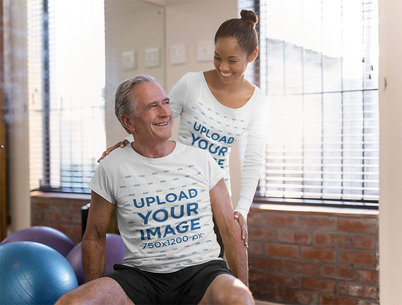 T-Shirt and Long Sleeve Tee Mockup of a Senior Man With His Coach 41919-r-el2