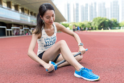 Tank Top Mockup of a Woman Warming Her Legs Up Before Running 42465-r-el2