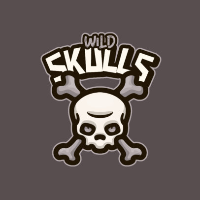 Monochromatic Logo Template for Gamers Featuring a Skull Clipart 4112a-el1