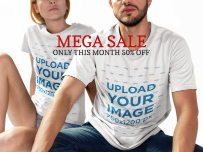 Facebook Ad - Man and Woman Wearing Round Neck Tees with Head Cut a16277