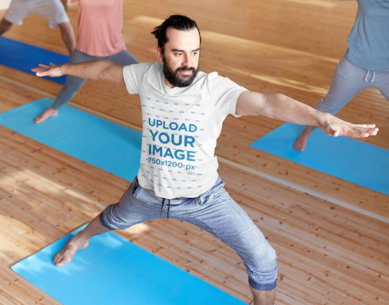 V-Neck Tee Mockup Featuring a Man Doing Group Yoga 42296-r-el2