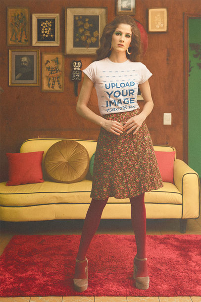 T-Shirt Mockup Featuring a Long-Haired Woman Posing in a Retro Living Room m10524