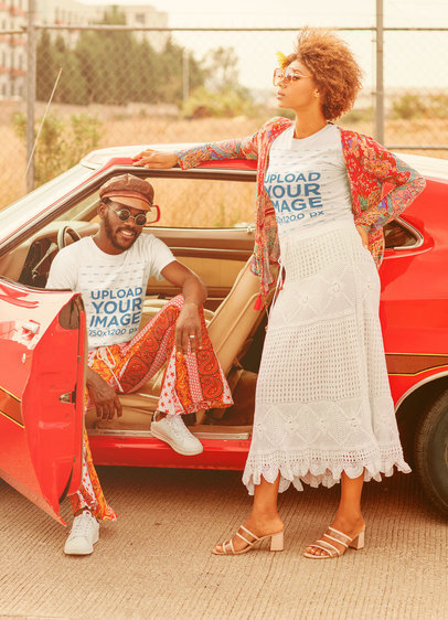 T-Shirt Mockup with a 70's Theme Featuring a Man and a Woman Posing by a Car M10494