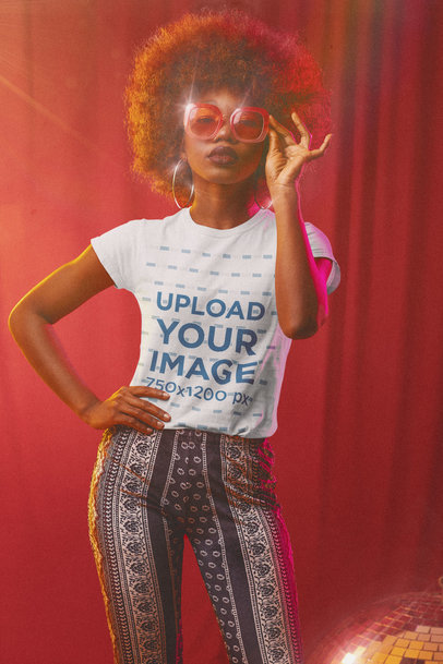 T-Shirt Mockup Featuring a Woman in a 70s Outfit m10144