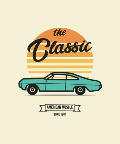 Retro T-Shirt Design Template Featuring Vintage Cars in the Sunset 4104-el1