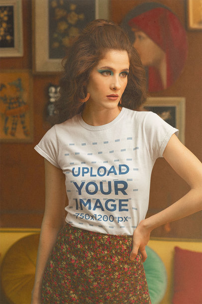 T-Shirt Mockup of a Serious Woman With a Retro Style m10525
