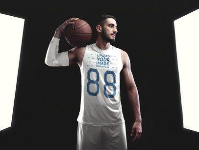 Basketball Jersey Maker - Bearded Man With Muscles Standing Between Lights a16354