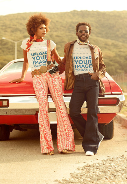T-Shirt Mockup of a Couple Posing by a Muscle Car M10495